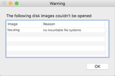 Error de macOS al abrir la imagen de disco .dmg