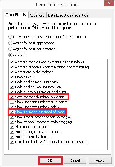 Guardar vistas previas en miniatura de la barra de tareas