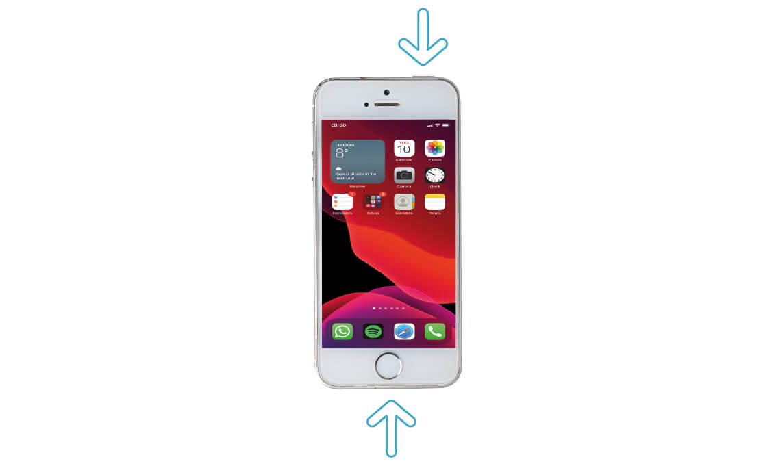 Presione el botón de inicio y el botón superior al mismo tiempo para tomar una captura de pantalla
