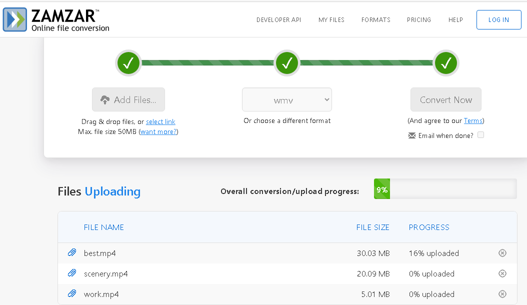 vista del progreso en vivo de la carga de archivos