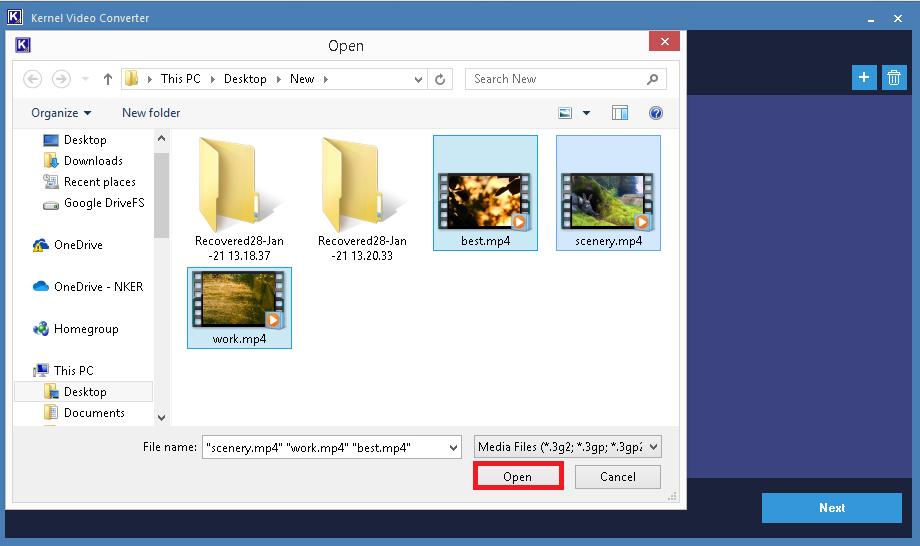 Seleccione los archivos mp4 deseados para la conversión