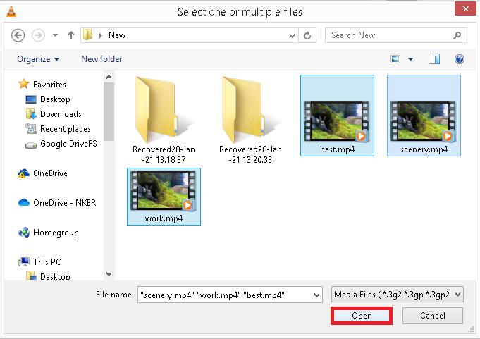 agregar los archivos de video