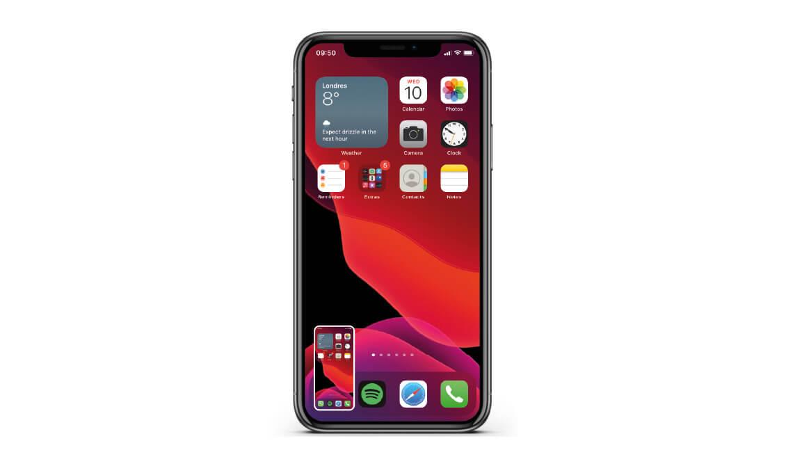 Resultado de la captura de pantalla del iPhone X a 12 en la parte inferior izquierda de la pantalla