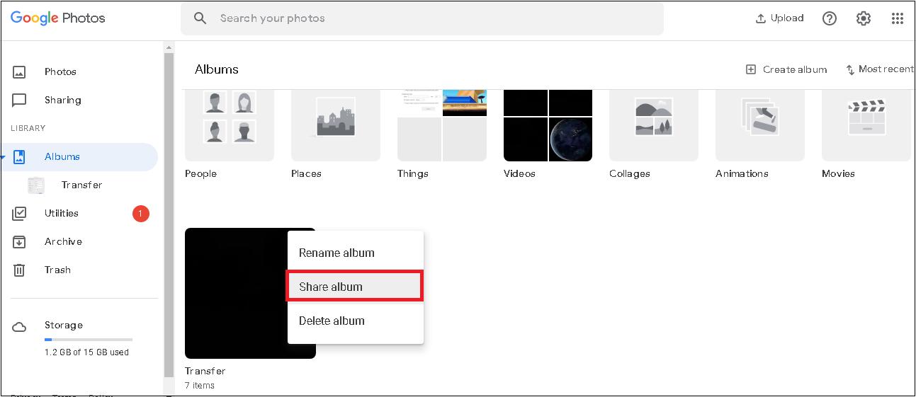 seleccione el álbum en el panel derecho, haga clic en los tres puntos y seleccione Compartir álbum en la lista desplegable.