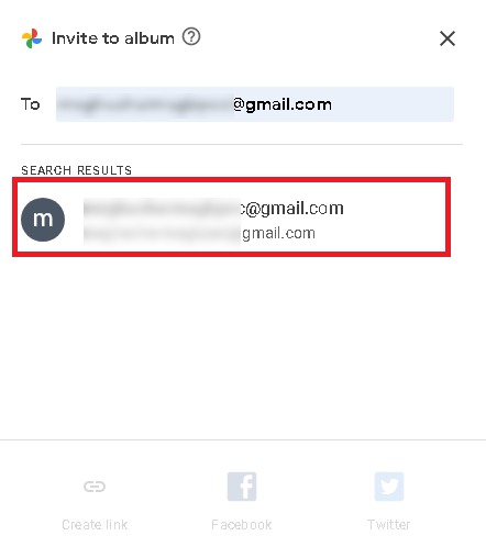 seleccione la cuenta de Google de destino