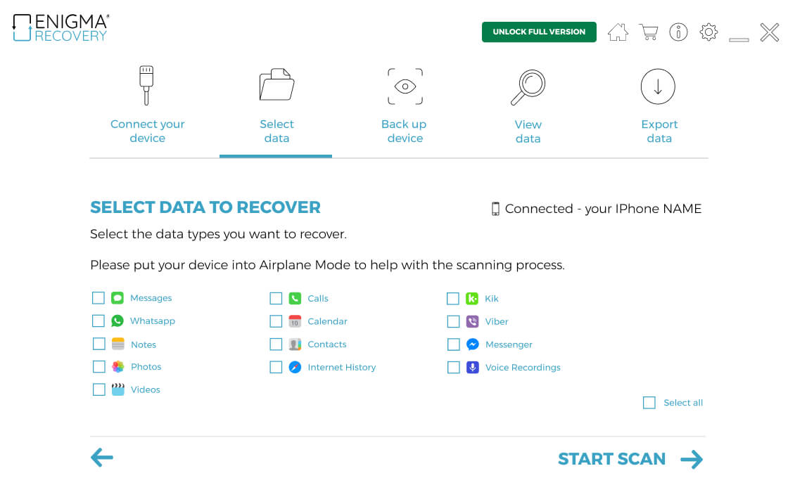 Elija tipos de datos para realizar copias de seguridad incrementales