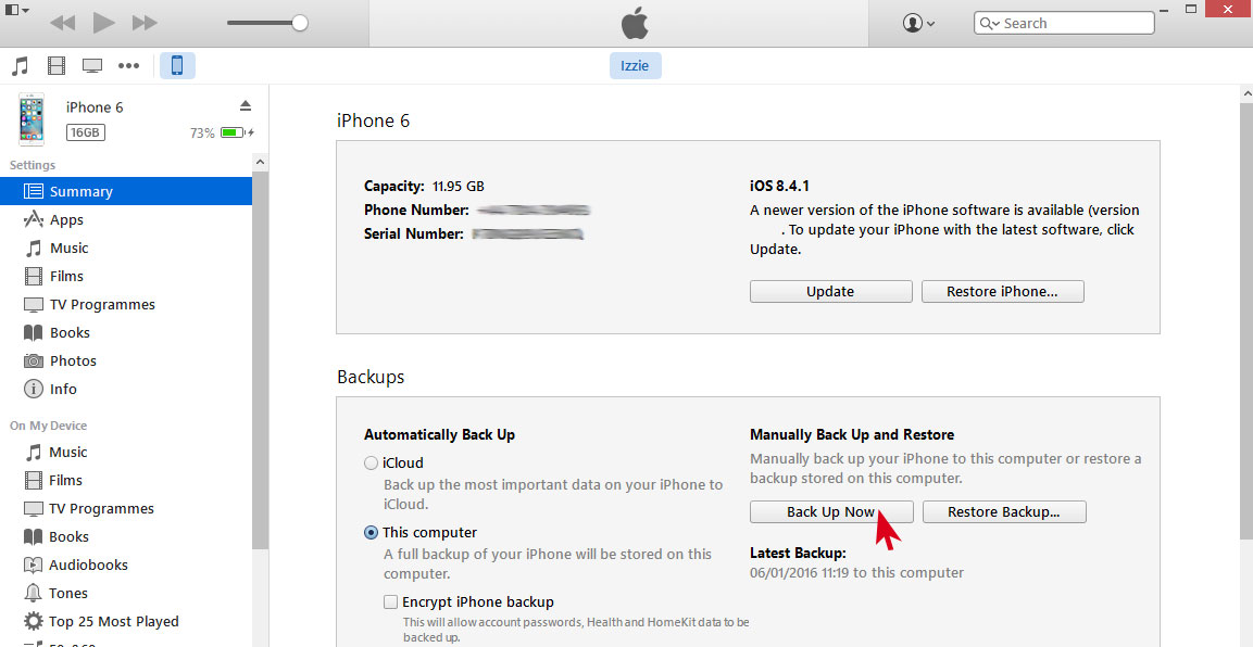 itunes copia de seguridad iphone