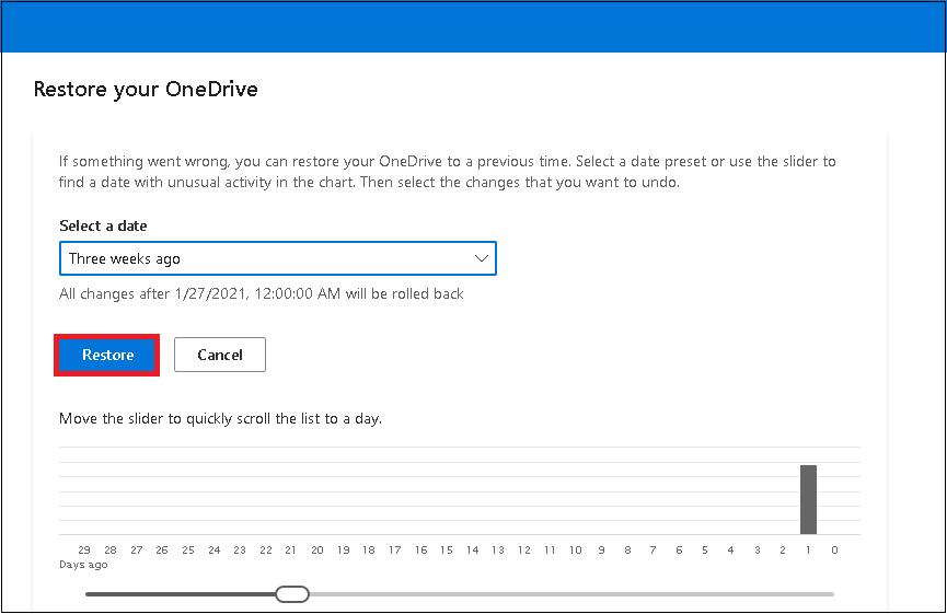 restaurar la versión de rango de fechas seleccionada de su OneDrive