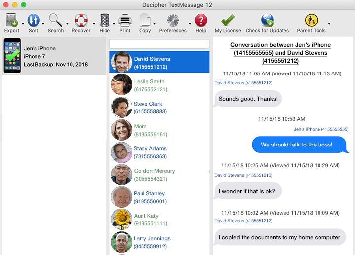 Captura de pantalla de Decipher TextMessage que muestra la vista de cómo guardar los mensajes de texto del iPhone antes de transferirlos a Dropbox