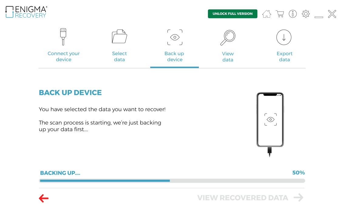 Dispositivo iOS de copia de seguridad