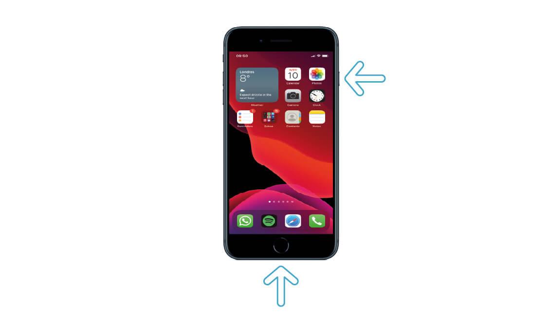 Presione el botón de inicio y lateral al mismo tiempo para tomar una captura de pantalla