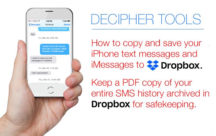 Cómo guardar mensajes de texto e iMessages en Dropbox