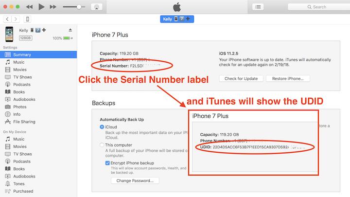 Revele el UDID del iPhone en iTunes haciendo clic en la etiqueta del Número de serie