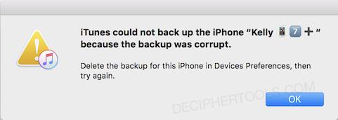 iTunes no pudo hacer una copia de seguridad del iPhone / iPad / iPod: la copia de seguridad del iPhone estaba dañada o no era compatible