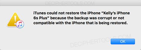 iTunes no pudo restaurar el iPhone / iPad / iPod: la copia de seguridad del iPhone estaba dañada o no era compatible