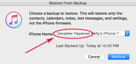 Seleccionar restaurar una nueva copia de seguridad reparada en iTunes