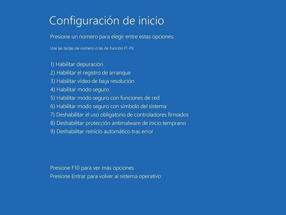 Opciones avanzadas de inicio de Windows